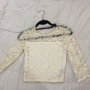 Lace top with pearl button back